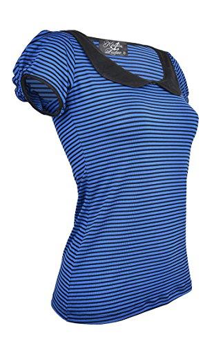 Küstenluder TARHA Stripe Schleifen 50s Streifen Kurzarm Shirt - Blau Blau / Schwarz gestreift