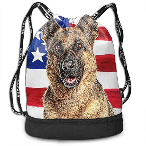 Einst Turnbeutel Rucksack Sportbeutel Gymbag Beutel American Flag with German Shepherd Shoulder Bags (German Flag Bag)