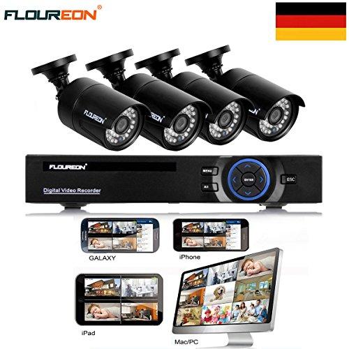 FLOUREON DVR Kit Videosorveglianza (8CH 1080N AHD HDMI DVR + 4 * 960P 2000TVL 1.3MP Telecamera Esterno), Backup USB, Allarme Email, Sistema di Sicurezza, Hard Disk Non Incluso - 3