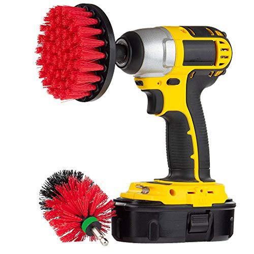 2Pcs 4 Inch 2.5 Inch Medium Heavy Duty Scrubbing Reinigung Power Scrubber Reinigung Drill Brush Kit für Badezimmer Oberflächen Wanne, Dusche, Fliesen und Fugen,Reifen usw (Rot) (4-treiber-drill 1)