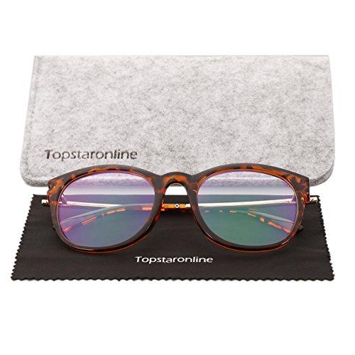 TOPSTARONLINE Retro Brillen Nerdbrille Dekogläser Klassisches Oval Rahmen Golden Muster Bein Mode...