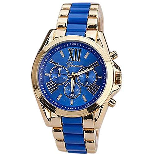 Qiuxiaoaa orologi da uomo cronografo moda casual, orologi da uomo, orologio da polso analogico quarzo da uomo classico di lusso, (blu)
