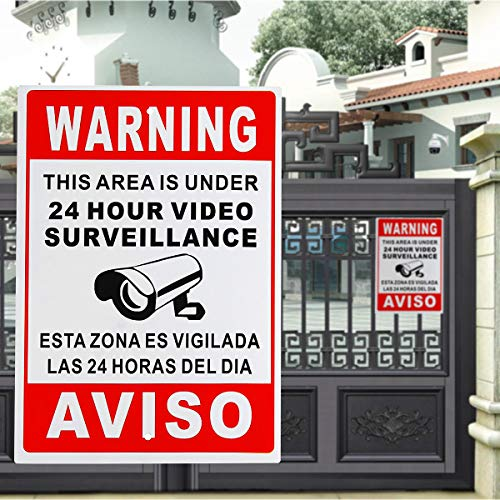 Desconocido Generic 24 Hour Video Surveillance Warning Sign Sticker Security Video Spanish English Metal