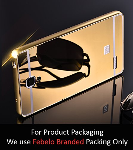 Febelo Branded Luxury Metal Bumper Acrylic Mirror Back Cover Case For Xiaomi Redmi Note 4G / Xiaomi Redmi Note Prime - Gold Plated