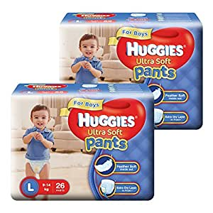 Huggies Ultra Soft Pants Large Size Premium Diapers for Boys (2 x 26 Counts)