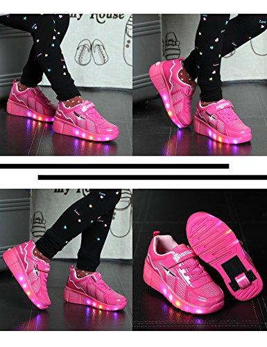 Mr.Ang Skateboard Schuhe mit LED 7 Farbe Farbwechsel Lichter blinken Räder SchuheTurnschuhe Jungen und Mädchen Flügel-Art Rollen Verstellbare neutral Kuli Rollschuh Schuhe Rosa2