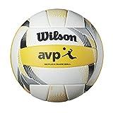 Wilson, Ballon de Beach-volley, AVP II Replica, Blanc/noir/jaune, Simili cuir, Extérieur, Taille officielle, WTH6017XB