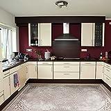 Teppich Kelim Kilim Modern Designer für Bad und Küche in Beige Rokoko Muster Vintage waschbar und rutschfest, hochwertige Webung (80cm x 150cm)