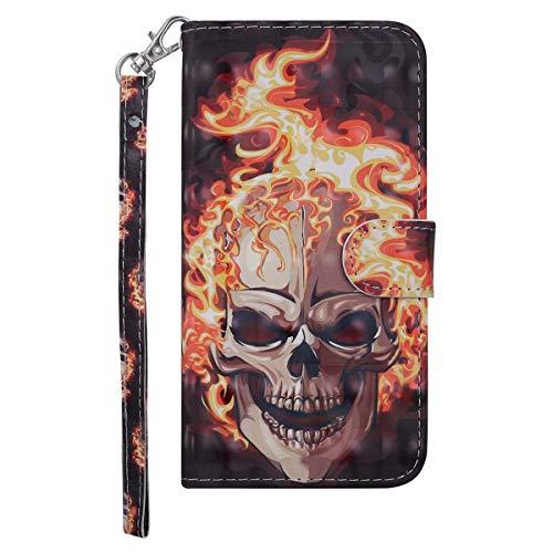 Coopay für Samsung Galaxy S9 Plus Hüllen,Glitzer 3D Fläche Schutzhülle Ledertasche Wallet Case Tasche Standfunktion-Card Holder Magnet Flip Lederhülle Brieftasche + 1x Schlüsselband,Schädel -