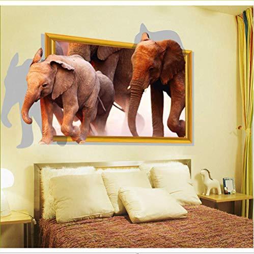 Wandtattoos DIY Home Einrichtung laufender Elefant Fake Fenster 3D Wall Sticker zur Dekoration Bilderrahmen für Zimmer Wall Sticker