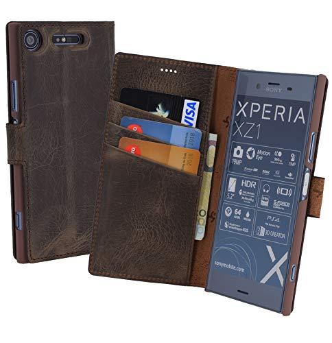 Suncase Book-Style (Slim-Fit) für Sony Xperia XZ1 Ledertasche Leder Tasche Handytasche Schutzhülle Case Hülle (mit Standfunktion und Kartenfach) antik braun Leder-style-schutzhülle