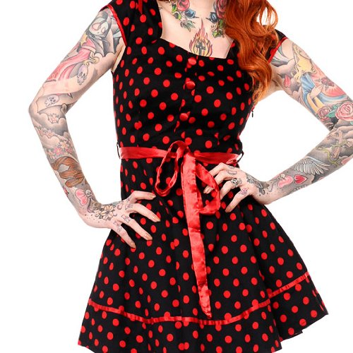 Banned Robe CUTE DOTTED DRESS noir-rouge noir-rouge