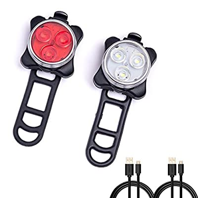 Beeway® Rechargeable LED Bike Lights Set, Cycling Headlight and Taillight Combinations - Front and Rear Light, 650mah Lithium Battery, 4 Light Modes, 2 USB Cables - low-cost UK light shop.