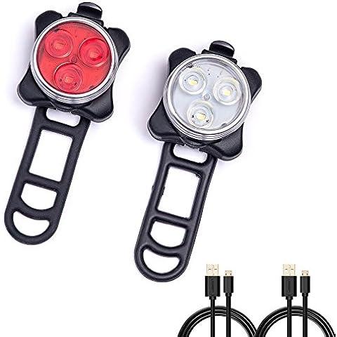 BEEWAY® USB Batteria Fanale Posteriore combinazioni LED bicicletta luce Set, 650mAh al litio ricaricabile luce anteriore bianco posteriore rosso cautela 4solido e lampeggiante impermeabile IPX4Easy Install - Led Luce Posteriore Della Bicicletta