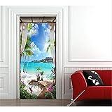 Etiqueta de la puerta Arte pintado a mano junto al mar etiqueta de la pared etiqueta de la puerta calcomanía decoración del hogar 77 * 200cm