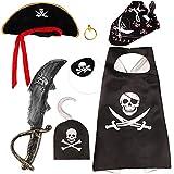 VAMEI Disfraz Pirata Niño con Pirata Accesorios Pirata Sombrero Parche Daga Anillo de Oreja y Capa de Gancho Pirata Disfraz de Halloween Niños