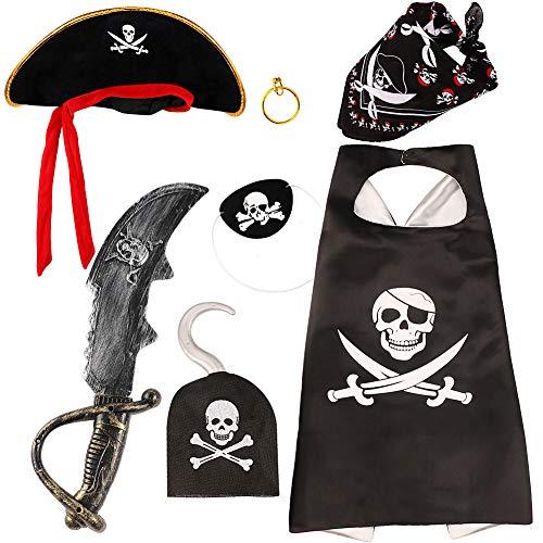 VAMEI Costume da pirata di Halloween con cappello per occhi e orecchini