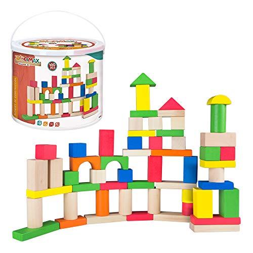 ColorBaby - Cubo 100 bloques de madera 40993