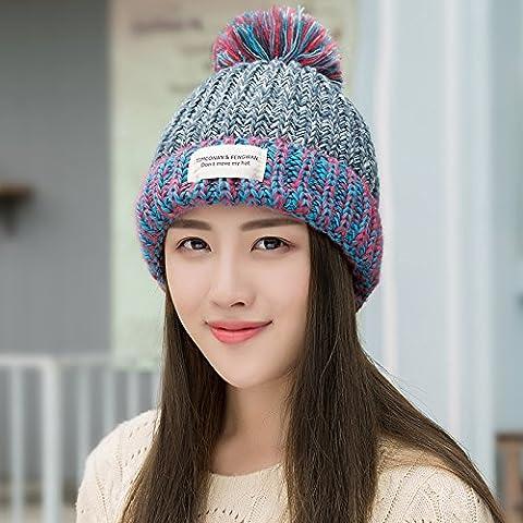 Dngy*La marea Coreana di autunno e inverno maglione Knit Hat l'elegante privo di pelucchi caldo Cappello invernale Winter Ms. PAC , grigia spessa