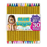 "Blue Squid Face Paint Crayons for Kids, 30 Jumbo 83mm/3.25"" Face & Body Painting Makeup Crayons, Safe for Sensitive Skin, 6 Metallic & 24 Classic Colours, Great for Children"