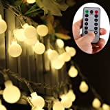 [Remote-Timer,Dimmbar] 10 Meter 100 Warmweiß LED Outdoor Globe-Schnur-Licht 8 Modi Batteriebetriebene Mattweiß Ball Fairy Light - Party Hochzeits Events