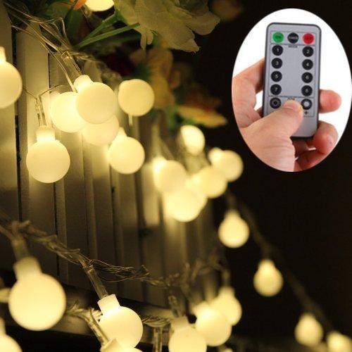 EchoSari 100er LED Kugel Lichterkette Warmweiß Batteriebetrieben Mit Fernbedienung für Pavillon Gloriette Sommerhaus Camping Dekor