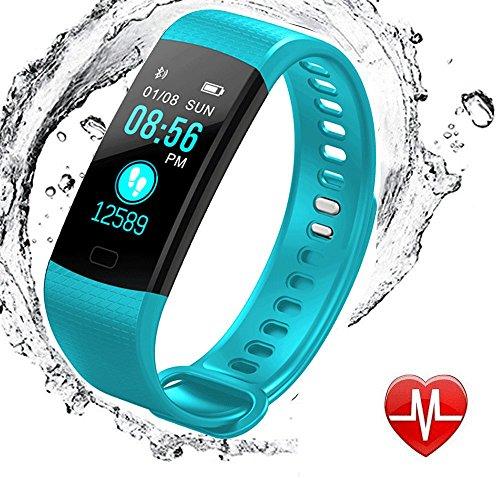 Fitness Armbanduhren mit Schrittzähler, elecfan Wasserdicht IP67 Fitness Tracker Aktivitätstracker Color Screen Pulsuhren Bluetooth Smart Armbanduhren Smartwatches mit Schlafmonitor Kalorienzähler Vibrationsalarm Schrittzähler mit iPhone Android Handy - Hellblau