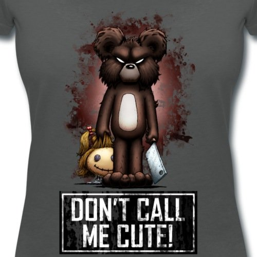 Halloween Nounours Don't Call Me Cute T-shirt col V Femme de Spreadshirt® Charbon