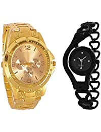 BLUE DIAMOND Combo Of Gold Colour Rosra And Black Metal Chain Strap Analog Watch For Men And Women - For Boys...