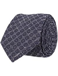 OTTO KERN Schmale Krawatte Seide Seidenkrawatte Clubkrawatte Denim Blau Gepunktet 6,5 cm