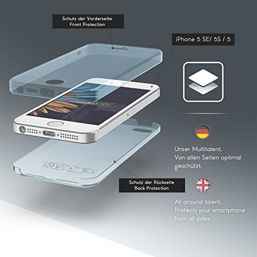 Apple iPhone 5 / 5s / SE Handyhülle von Original Urcover® in der TPU Ultra Slim 360 Grad Edition iPhone 5 / 5s / SE Schutzhülle Case Cover Etui Grau [DEUTSCHER FACHHANDEL] Blau