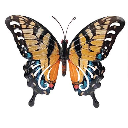 CIM Metall Wand-Deko - Schmetterling Schwalbenschwanz - 37cm x 25cm - tierische 3D Wandbilder - Wandschmuck inkl. praktischer Wandbefestigung - Handbemalte Wandskulptur