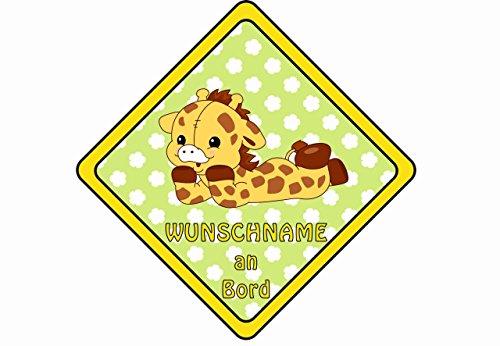 Farbklecks Collection - Autoschild Giraffe Motiv 9 - Namensschild - Baby an Bord - personalisierbar - Saugnapf