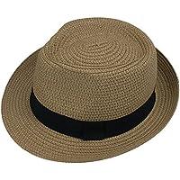 Leisial Bebé Niños Verano Sombrero de Jazz Paja Hueco Gorro Protector Solar  Sombrero de Playa Sol 2ab5a4018b4