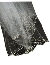 Somptueux voile de mariéee en tulle à 2 épaisseurs à bordure, avec petites billes brodées. Produit offert par NYfashion101.