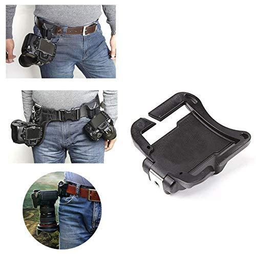 DEjasnyfall Tragbare Mini Kamera Taille Gürtel Quick Strap Schnalle Öffnung Mund Button Mount Clip für SLR DSLR Kamera Zubehör (schwarz)