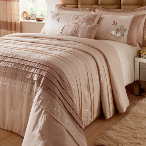 Catherine Lansfield Home Sequin Floral Quilted Bedspread, Natural, 240 x 260 Cm
