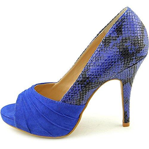 Thalia Sodi Marissa Offener Spitze Stoff Stöckelschuhe Blue Snake