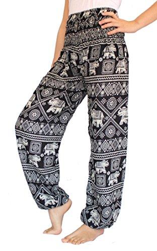 Banjamath hippy con texto harén Smocked Women's Yoga cintura diseño floral con...