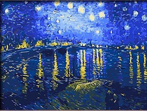 Dorara DIY Ölgemälde Farbe nach Anzahl Hand Lackierungen 16 × 20 Zoll Sternenklare Nacht über die Rhône von Vincent van Gogh Starlight Kunst Poster drucken