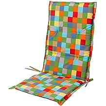 """'Asiento de Silla con respaldo alto silla """"jardín Verona cuadros Multicolor Multicolor"""