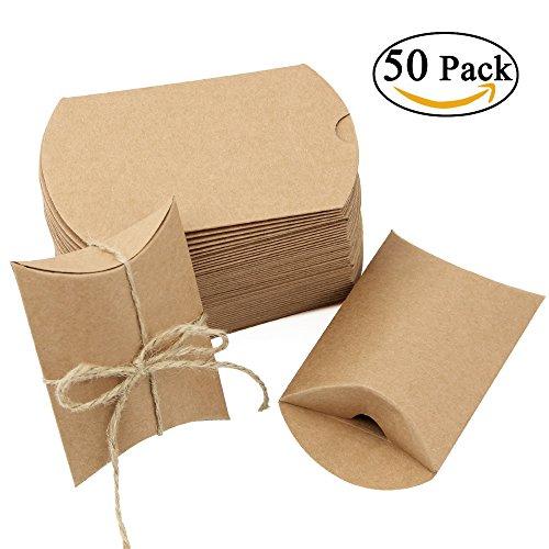 Jtdeal 50 pzsacchi di carta kraft da regalo, scatole regalo candy federa vintage con la corda di canapa, ideale per il cioccolato regalo giorno del matrimonio, noci, zucchero, foglie di tè, biscotti a mano, caramelle e altri doni (marrone)
