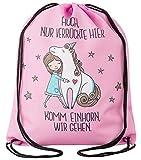 Aminata Kids - Kinder-Turnbeutel für Mädchen und Damen mit Unicorn Sache-n Pferd-e Haus-Tiere Einhorn Sport-Tasche-n Gym-Bag Sport-Beutel-Tasche Weiss rosa pink Sprüche Stern-e Herz-en