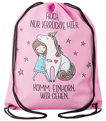 """Aminata Kids – Turnbeutel Mädchen Einhorn Hipster rosa Spruch """"Komm Einhorn wir gehen"""" *..."""