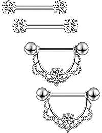 2 Paires Anneau de Mamelon en Acier Inoxydable Barbell Nipple CZ Anneaux de Strass Langue de Mamelon Bijoux Piercing de Corps (Bar d'Argent)