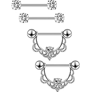 2 Paar Edelstahl Nippel Ring CZ Barbell Nippel Strass Ringe Nippel Zunge Piercing Schmuck (Silber Bar)