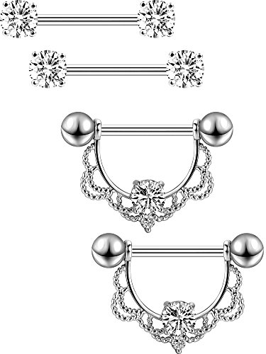 5e864409df66cb 2 Pairs Stainless Steel Nipple Ring CZ Barbell Nipple Rhinestone Rings  Nipple Tongue Body Piercing Jewelry