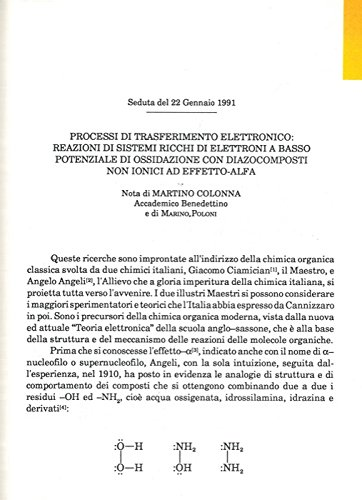 Processi di trasferimento elettronico: reazioni di sistemi ricchi di elettrodi a basso potenziale di ossidazione con diazocomposti non ionici ad effetto-alfa.