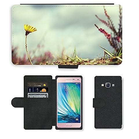 PU Leder Wallet Case Folio Schutzhülle // M00312792 Blume Absenkbetrieb Victor Natur // Samsung Galaxy A5 (not fit S5)