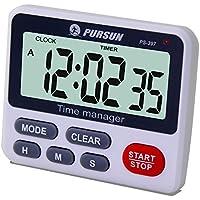 Temporizador Digital de Cocina - XREXS Temporizador de Volumen de Alarma Ajustable, Temporizador de Cocina, Cronómetro, Pantalla LCD Grande Temporizador de Encimera/Temporizador Batería Incluida